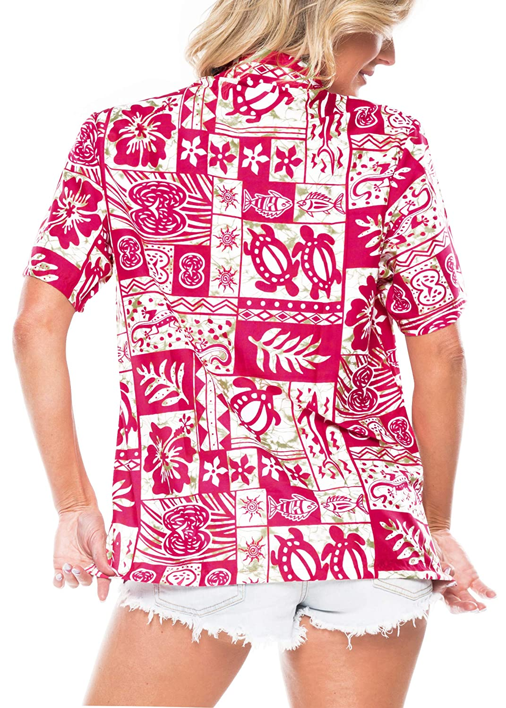 LA LEELA Womens Hawaiian Blouse Shirt Dress Shirts Short Sleeve Shirts Printed A