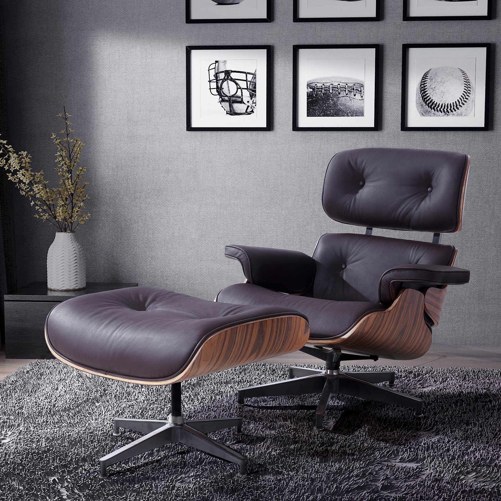 Mecor Eames Lounge Chair with Ottoman, Mid Century Palisander Chair, 100% Grain Italian Leather Recliner Chair with Heavy Duty Base Support for Living Room (Brown) by mecor