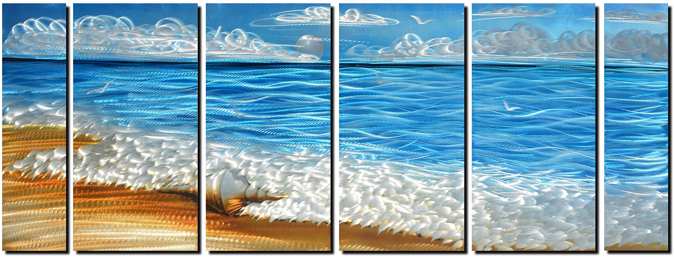 Handmade Metal Wall Art with Blue Ocean, Excellent Holiday Beach Design Wall Sculpture, 3D Metal Art for Home and Hotel Decor, Modern Landscape Set of 6-Panels Measures 24'' x 65''