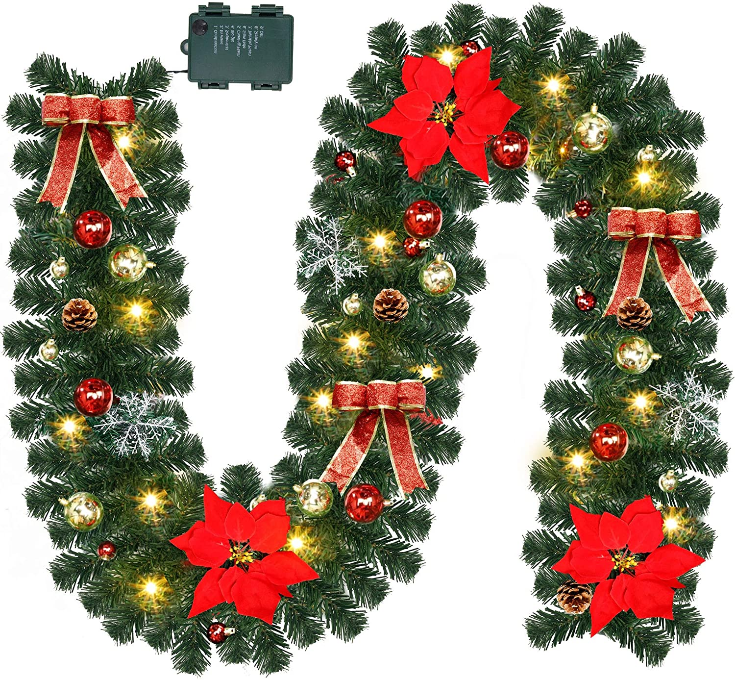 ATDAWN 9 Foot Christmas Lighted Garland, Battery Operated Christmas Garland with Lights, Pre Lit Garland Wreath with Christmas Ball Ornaments for Indoor Home Winter Holiday New Year Xmas Decorations