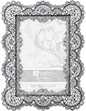 Malden International Designs Sabella Lace Metal Picture Frame, 4x6, Silver