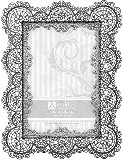 malden international designs sabella lace metal picture frame 4x6 silver - Metal Photo Frames