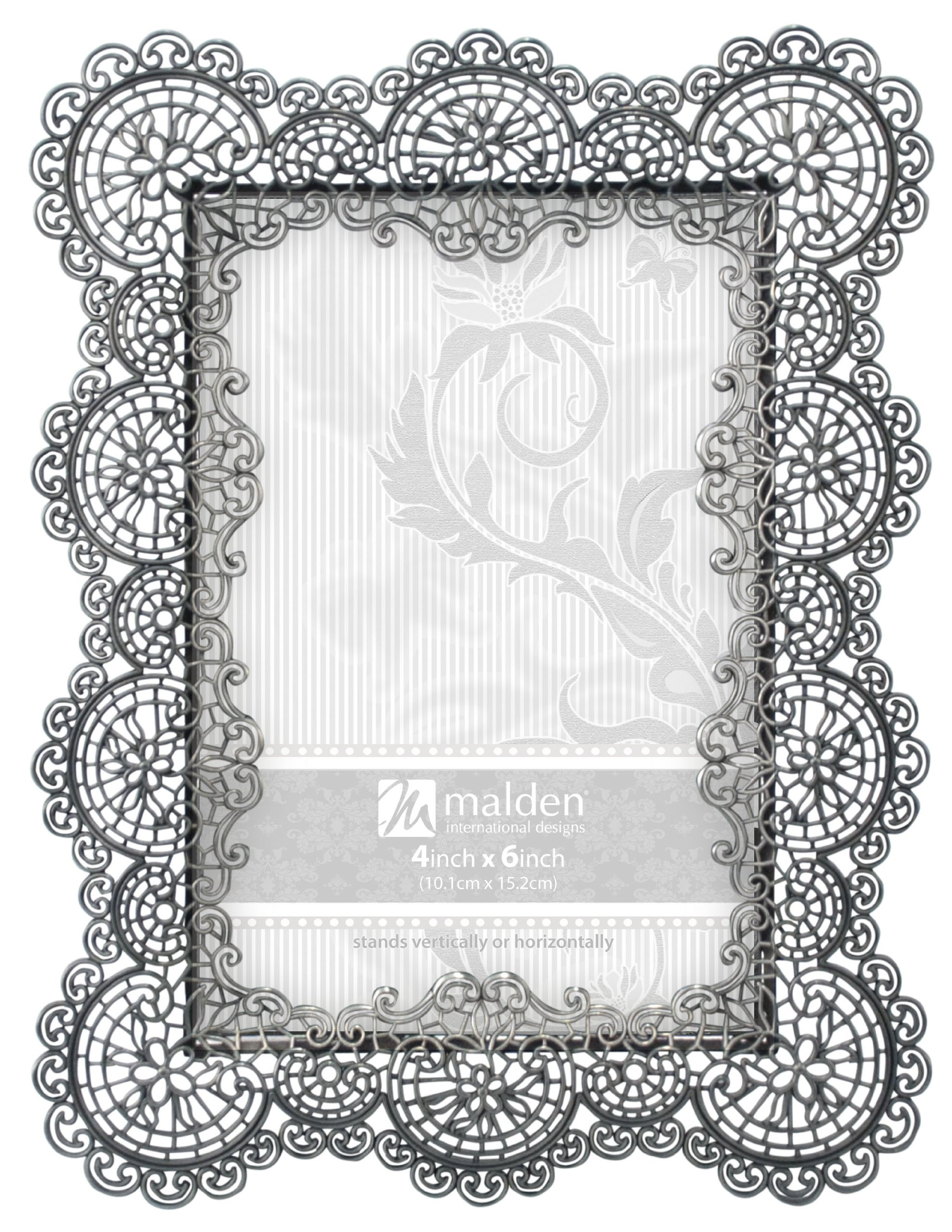 Malden International Designs Sabella Lace Metal Picture Frame, 4x6, Silver by Malden International Designs