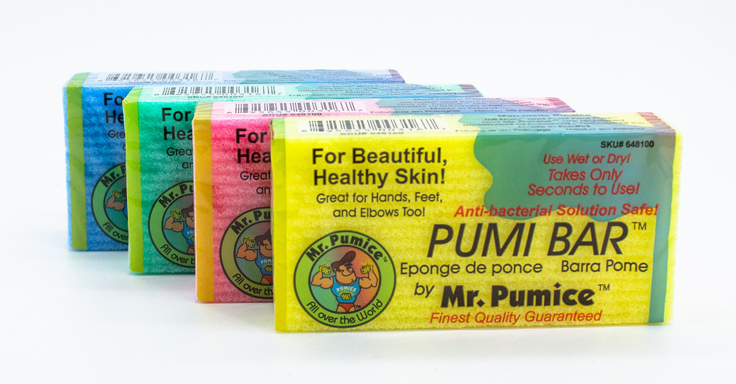 Mr. Pumice Pumi Bar (4 Pack, Assorted Colors): Medium Grit Callus Remover, Pedicure Stone and Ped File Scrubber For Smooth Feet and Heels