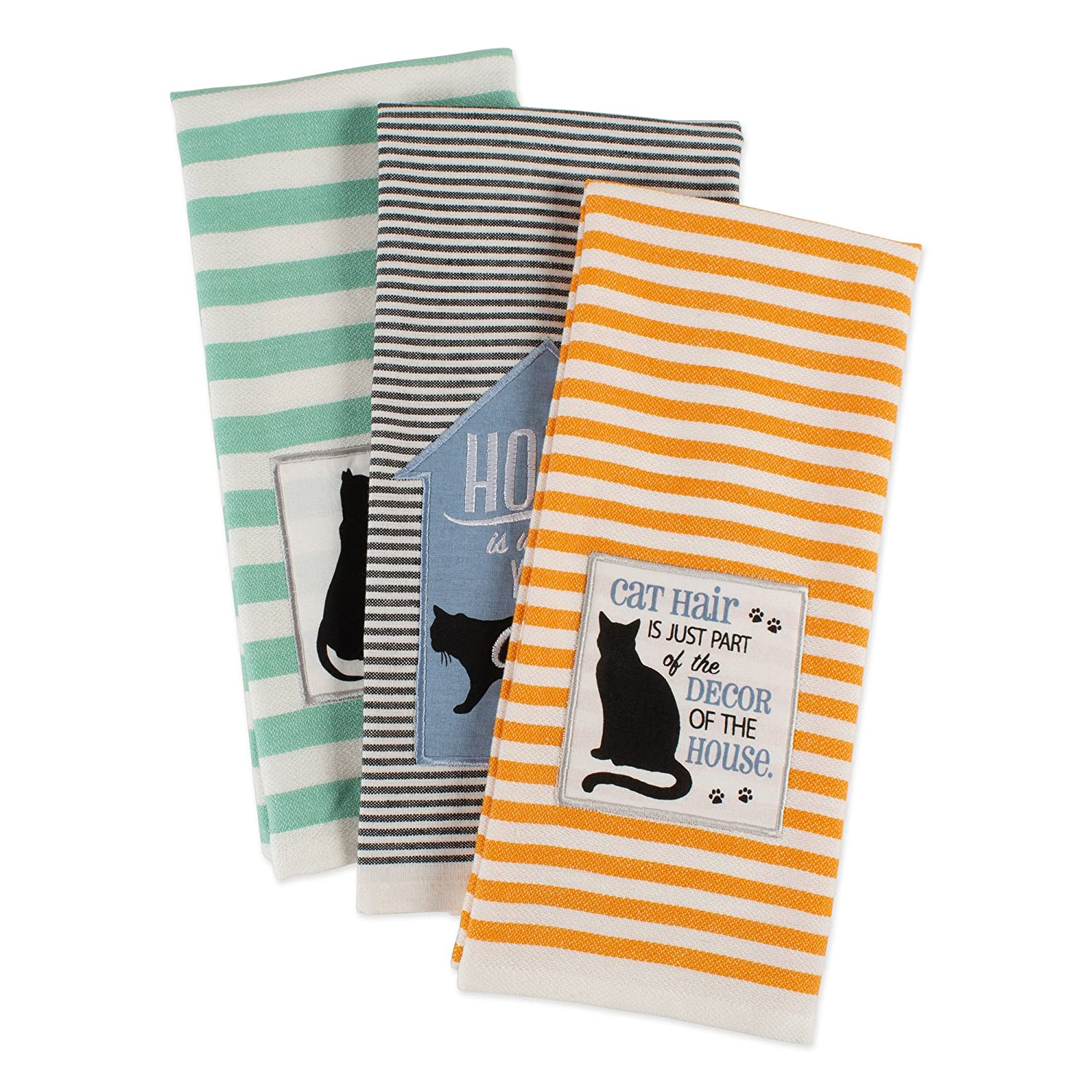 DII Cotton Decorative Pet Lover Dish Towel 18 x 28 Set of 3, Oversized Kitchen Dish Towels, Perfect Mother's Day, Hostess, Housewarming Gift-Cat's Meow Perfect Mother's Day CAMZ37436