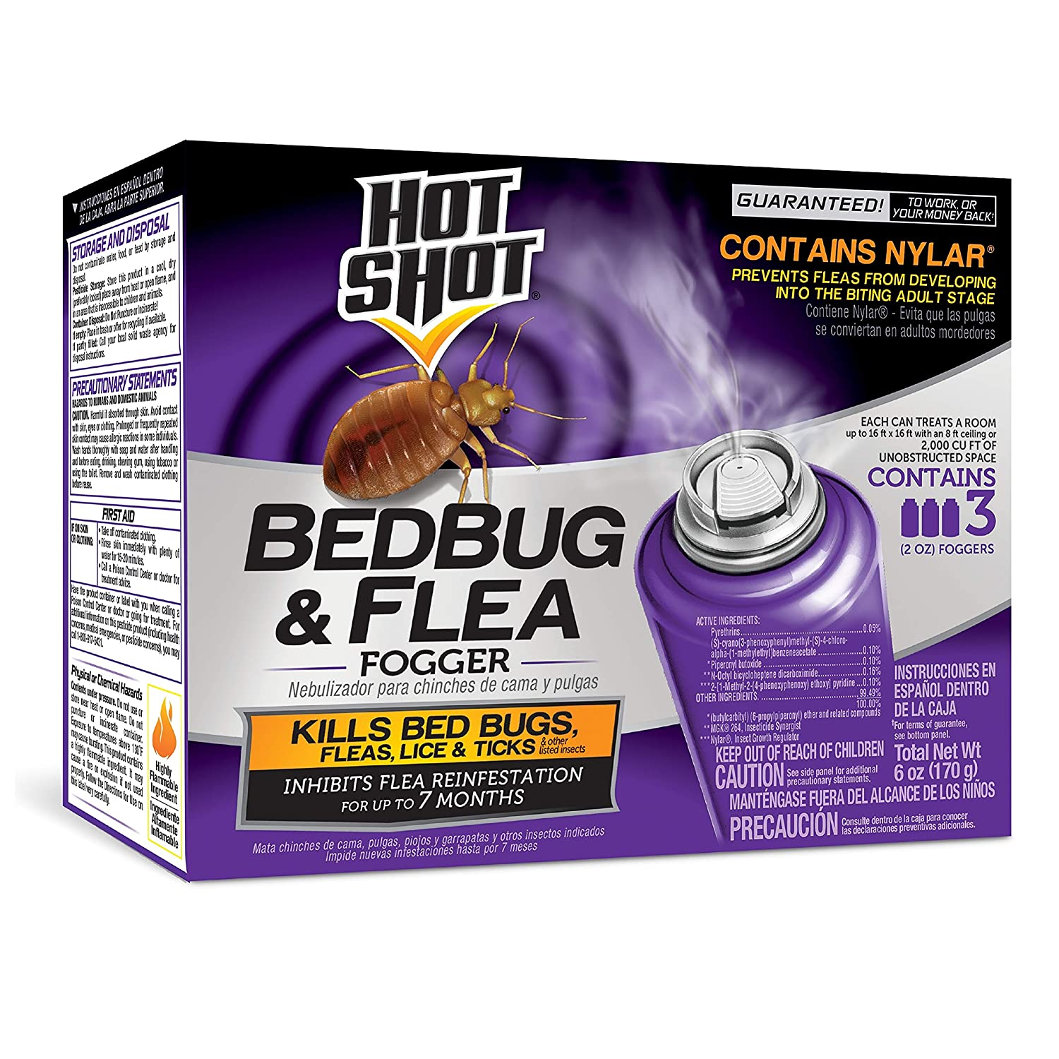 Hot Shot 95911 Bedbug and Flea Fogger, (3 count)