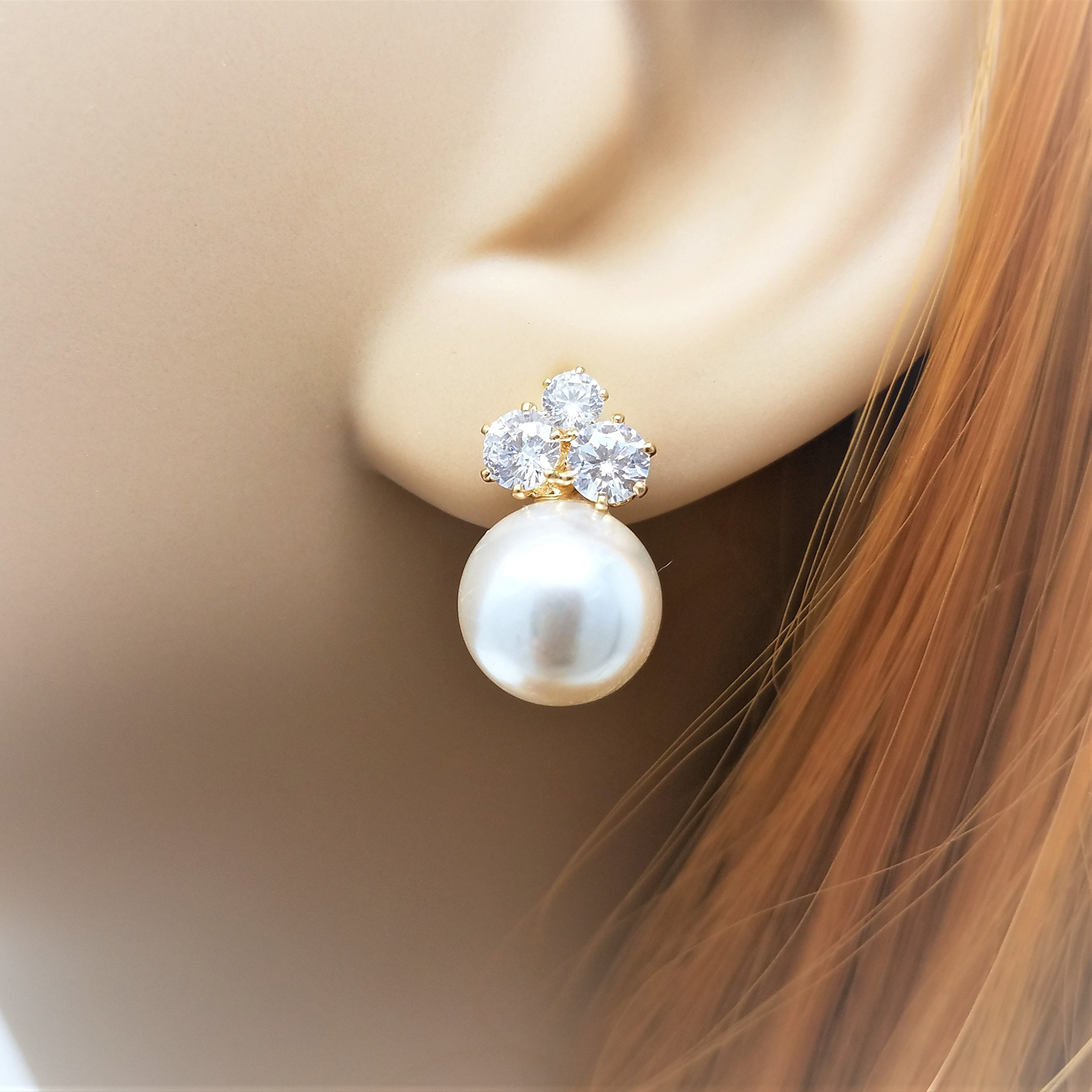 Bridesmaid Gifts - Elegant Pearl & Triple CZ Earrings (8mm, Simulated Pearl) by Bride Dazzle (Image #2)