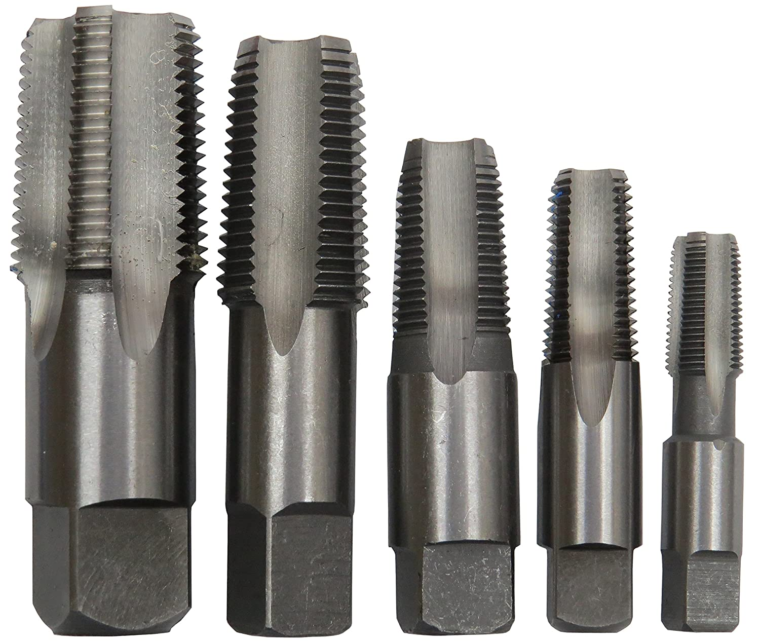 Drill America 5 Piece NPT Pipe Tap Set (1/8', 1/4', 3/8', 1/2' and 3/4'), Plastic Pouch Case, POU Series