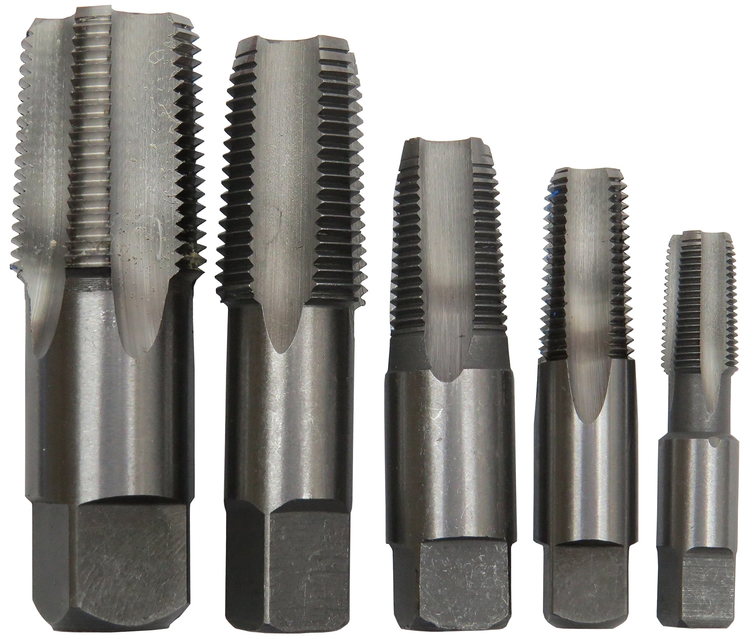 Drill America 5 Piece NPT Pipe Tap Set (1/8'', 1/4'', 3/8'', 1/2'' and 3/4''), Plastic Pouch Case, POU Series by Drill America