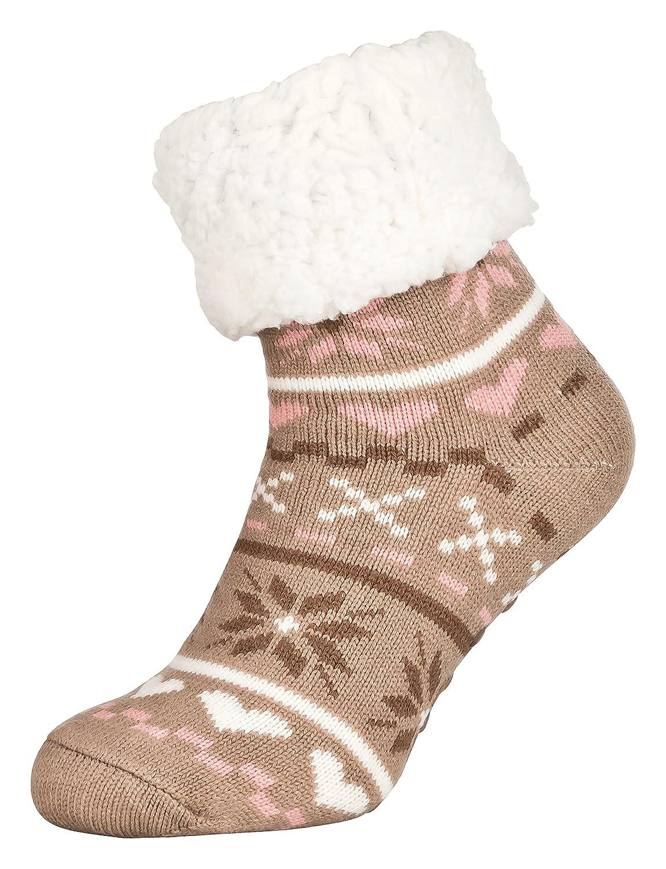 Tobeni 1 par Zapatillas de casa para Mujer Calcetines ABS tobilleros con suela antideslizante Tamano talla unica Color Amor Beige: Amazon.es: Ropa y ...