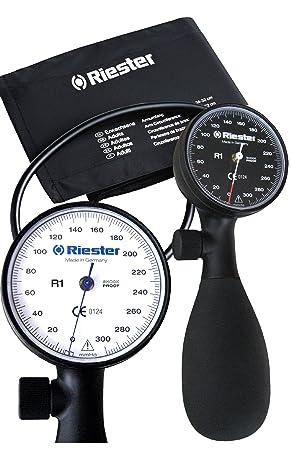 Riester R1 Shock-proof – Tensiómetro aneroide con manguito para adultos (negro) (