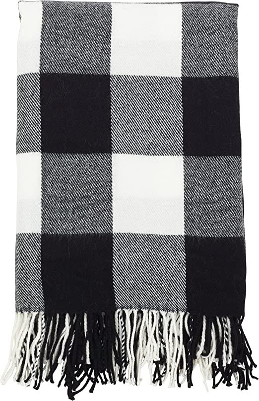 Amazon.com: SARO LIFESTYLE Buffalo Plaid Check Tassel Throw