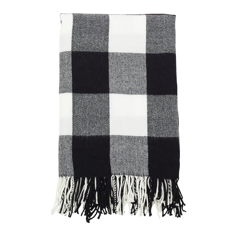 Black And White Plaid Blanket.Saro Lifestyle Buffalo Plaid Check Tassel Throw Blanket 50 X 60 Black