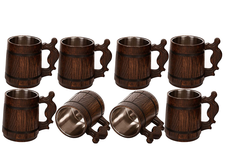 ハンドメイドのセット木製ビールマグの木製Eco Friendly GreatギフトアイデアBeer Mug for Men Capacity: 20.28oz (600ml) ブラウン B0722TQN3R  8