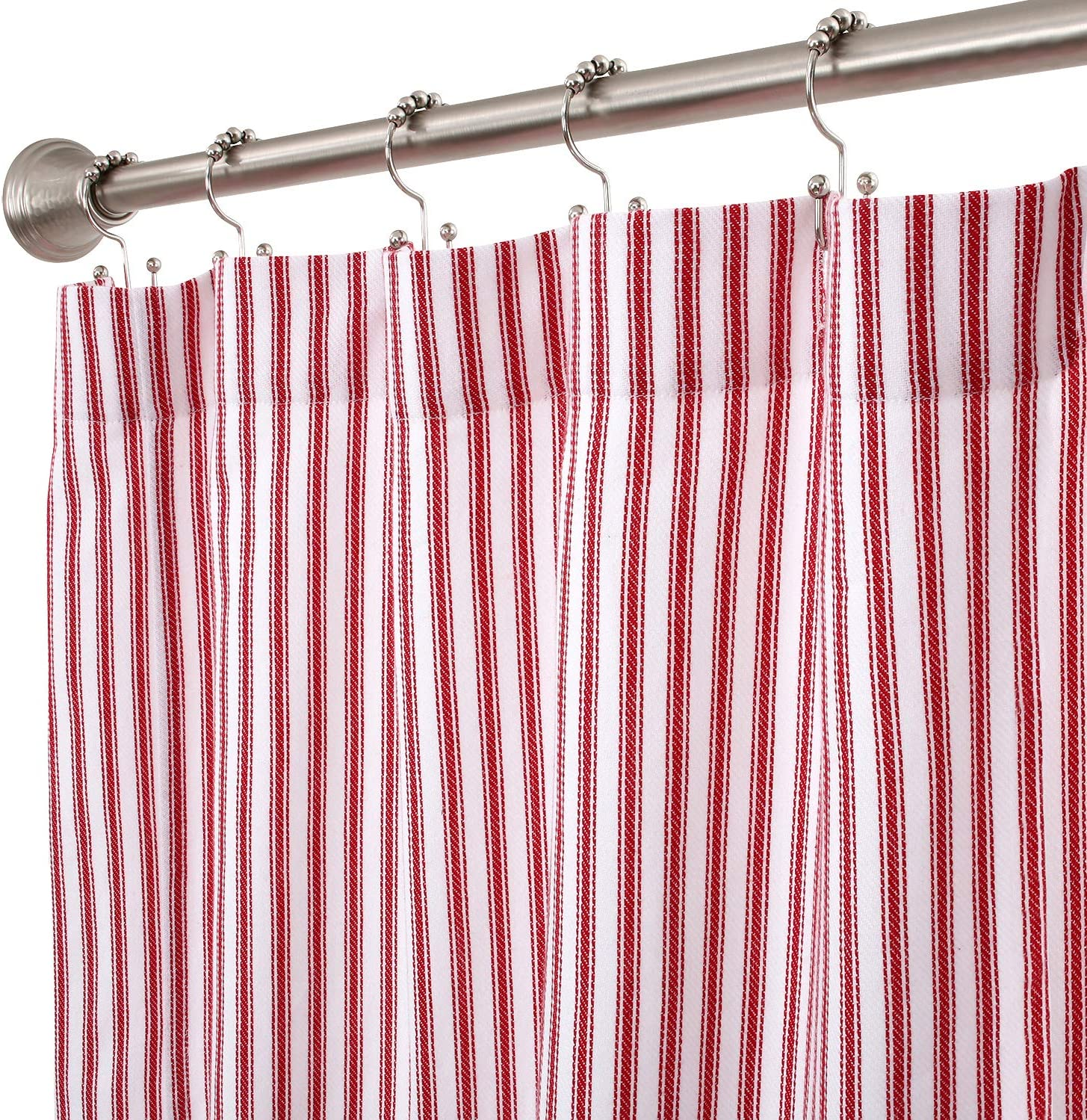 Cackleberry Home Red and White Ticking Stripe Woven Cotton Shower Curtain Extra Long 72 Inches W x 84 Inches L