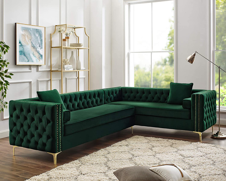 Inspired Home Green Corner Sectional Sofa - Design: Giovanni | 120\