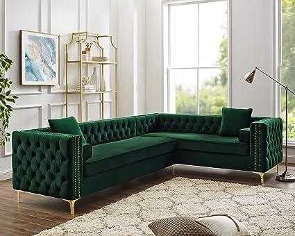 Amazon.com: Inspired Home Green Corner Sectional Sofa - Design ...