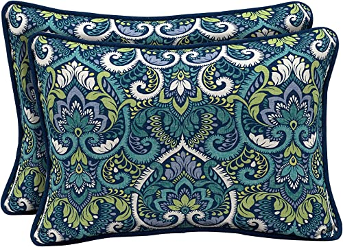 Arden Selections Sapphire Aurora Damask Outdoor Oversized Lumbar Pillow 2-Pack