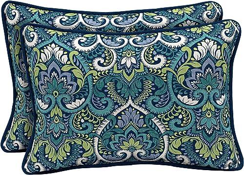 Arden Selections Sapphire Aurora Damask Outdoor Oversized Lumbar Pillow 2-Pack