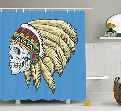 96dbd6e05 Ambesonne Tribal Shower Curtain, Native American Dead Skull with Feathers  Tattoo Folk Aztec Pattern,