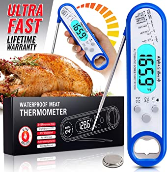 Alpha Grillers Instant Meat Thermometer For Grill And Cooking