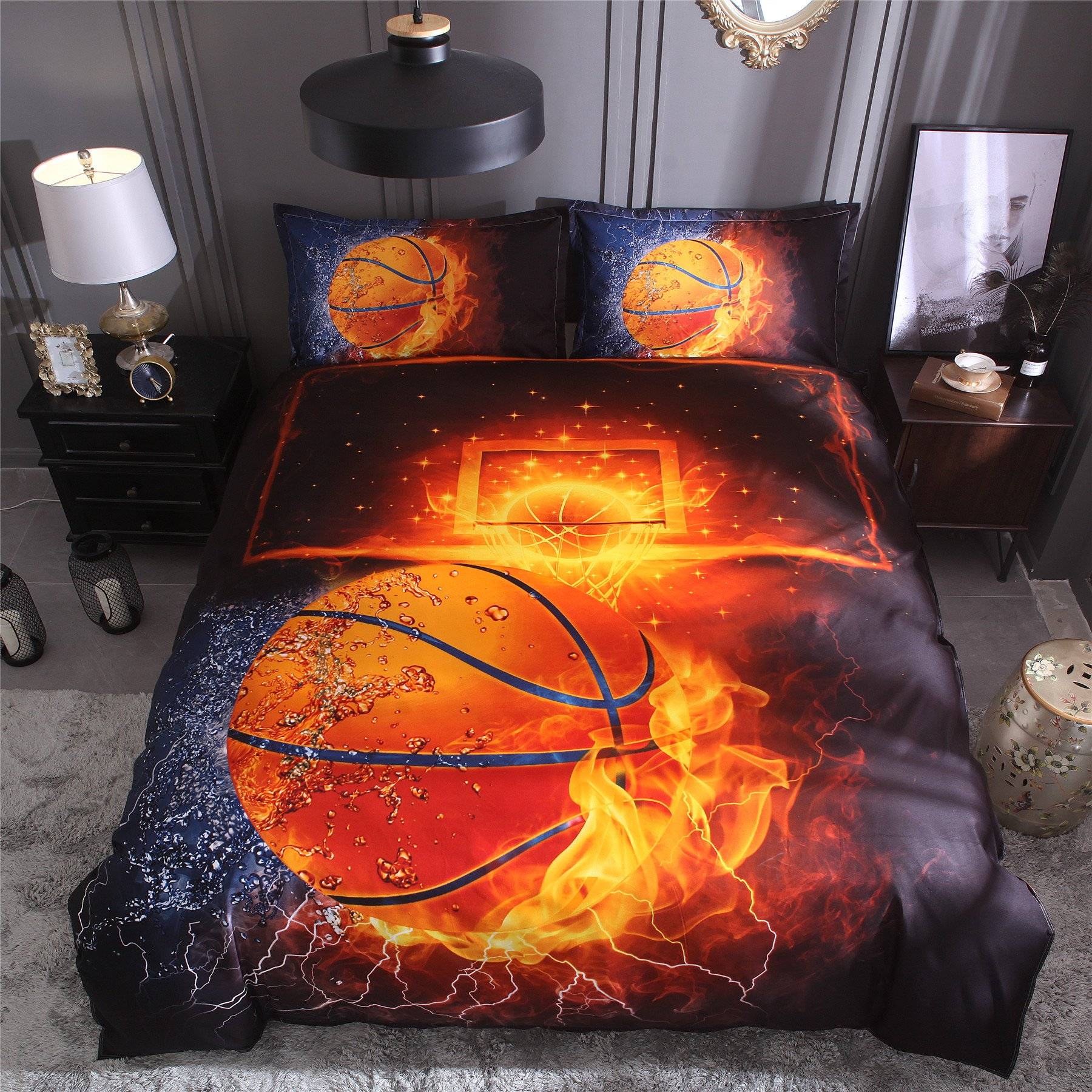 Meeting Story Basketball with Fire Print Duvet Cover Bedding Set For Kids (Galaxy Basketball, Twin)