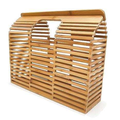 Amazon.com: Bolso de madera hecho a mano de bambú para mujer ...