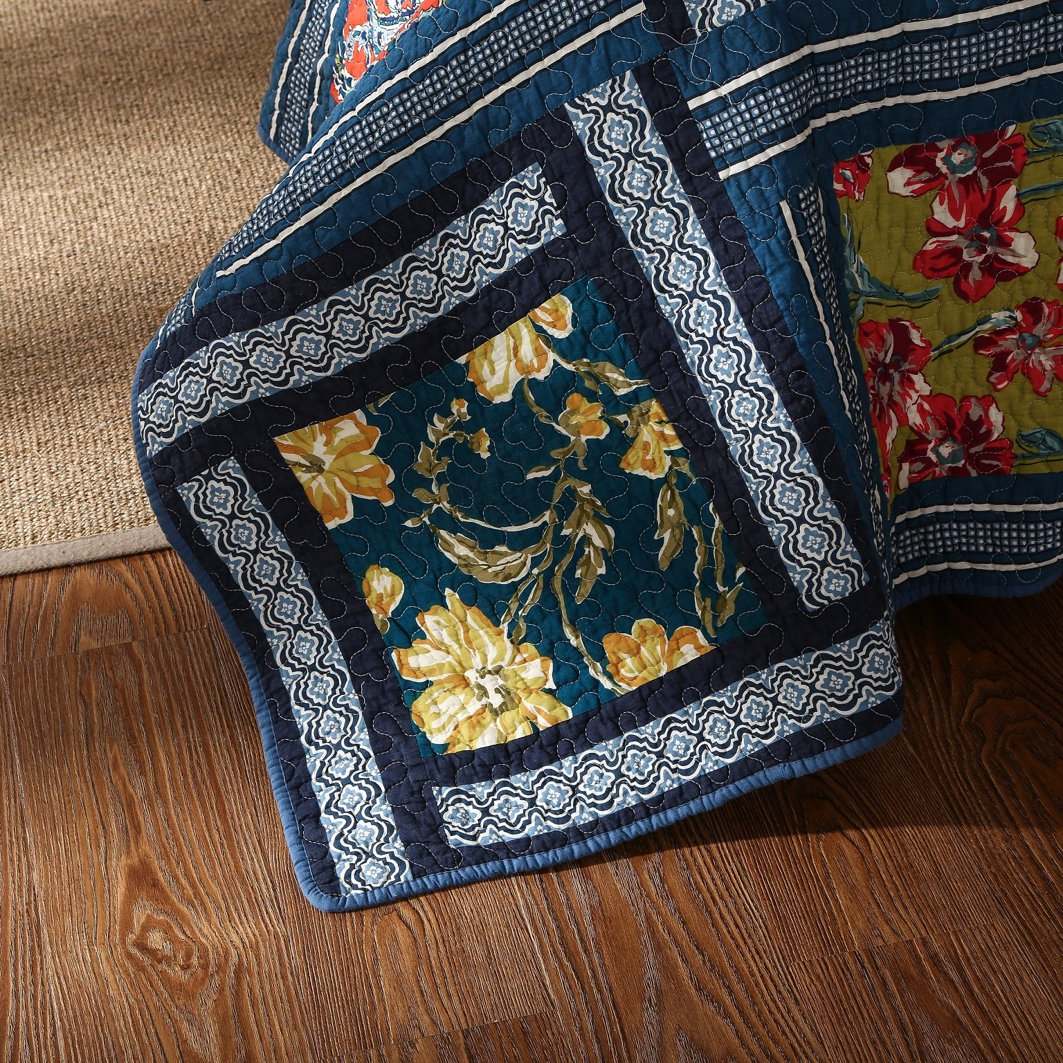 DaDa Bedding Bohemian Midnight Ocean Blue Sea Reversible Real Patchwork Quilted Bedspread Set - Dark Navy Floral Multi-Color Print - Queen - 3-Pieces by DaDa Bedding Collection (Image #6)