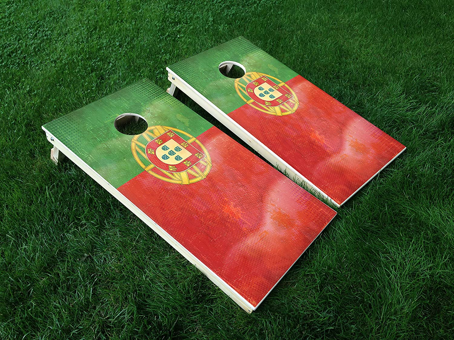 Distressed Portugal 02 Portuguese Flag Cornhole WRAP Set Vinyl Board Decal Baggo Bag Toss Boards Made in The USA