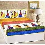 RajasthaniKart® Comfort Rajasthani Jaipuri Traditional Sanganeri Print 144 TC Cotton Double Size Bedsheet with 2 Pillow Covers -Yellow Ethnic,King