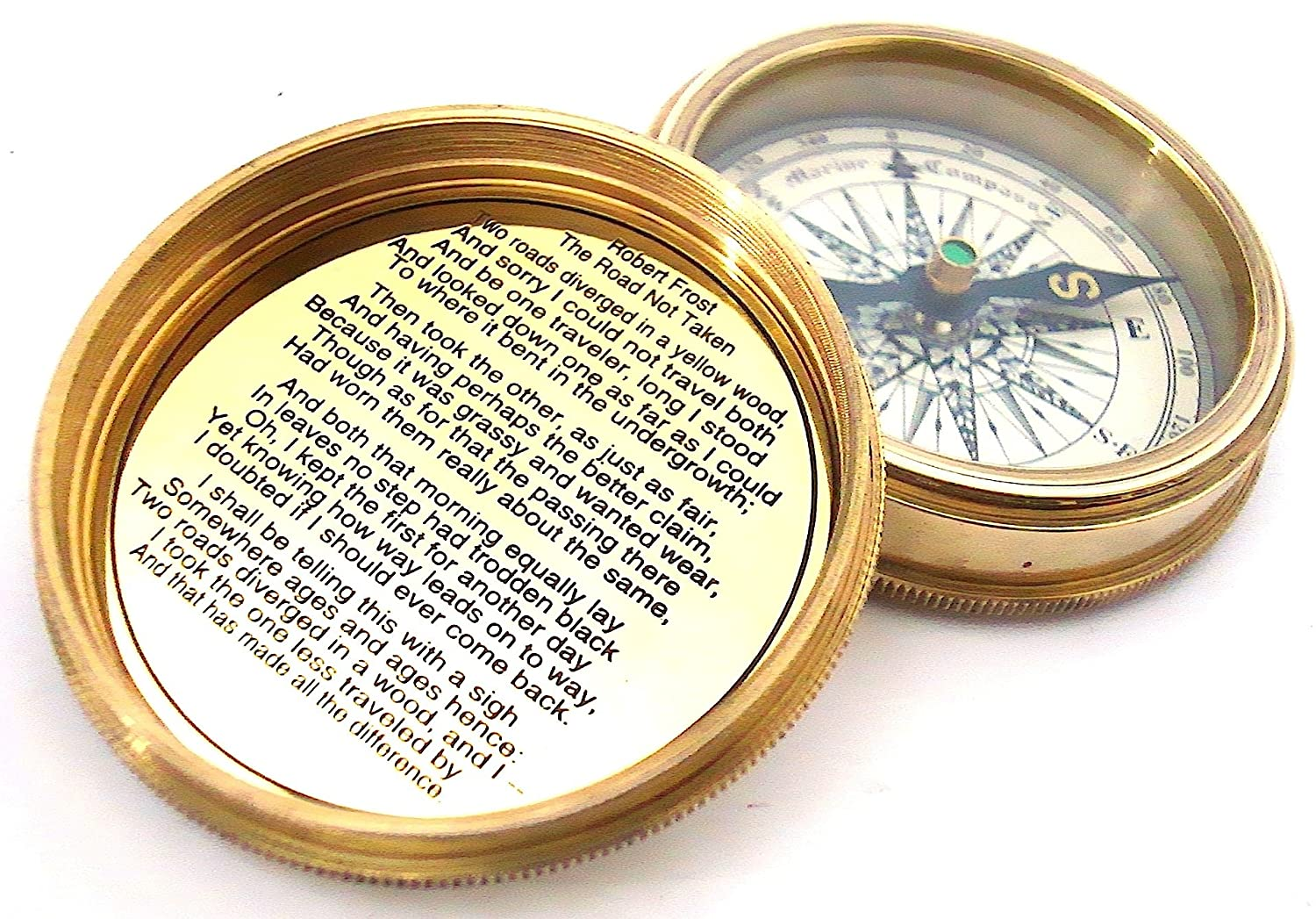 Brass Pocket Compass and Leather Case with Robert Frost Poem - Pocket Compass casanova nauticals S9-M4OW-SK1Y