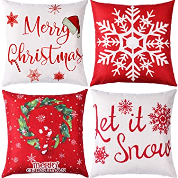 Jetec 4 Pieces Pillow Case Throw Cushion Cover Cotton Linen Pillow Decorations for Halloween Thanksgiving Christmas Autumn, 18 by 18 inch (Color Set ...