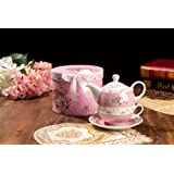Vintage Rose Flower Victoria Flora Porcelain Tea for One Teapot and Cup suacer in Gift Box (Pink)