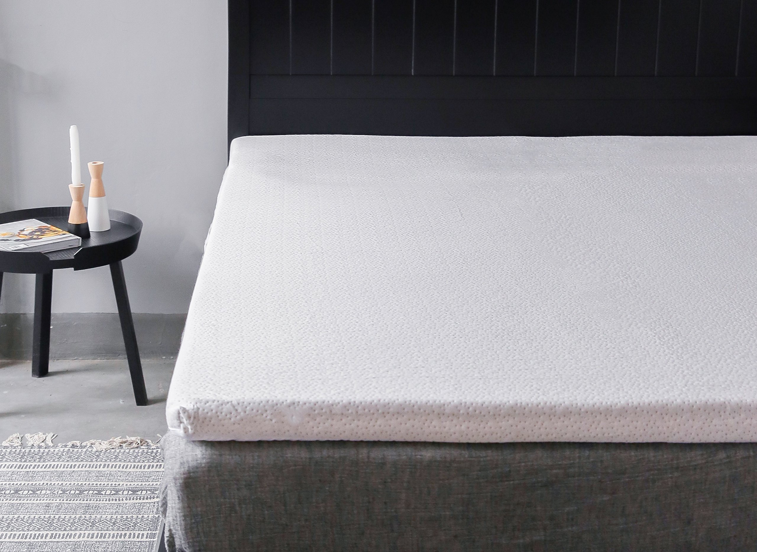 ALLRANGE 2-Inch Hypoallergenic Memory Foam Mattress Topper, Removable Rayon from Bamboo Cover, Super Soft, Anti-Allergen, Wicks moisture, Temperature Regulating, Rolled Package, Twin XL Size