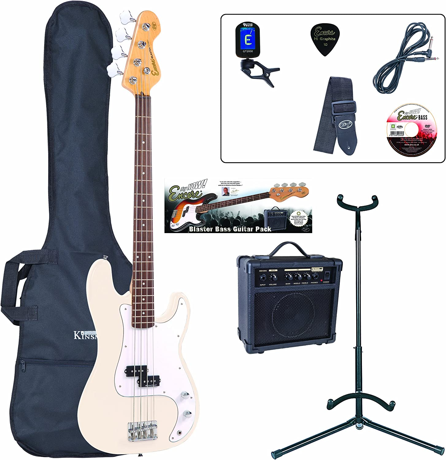 Encore E4 Bass Guitar Starter Pack - White: Amazon.es: Instrumentos musicales