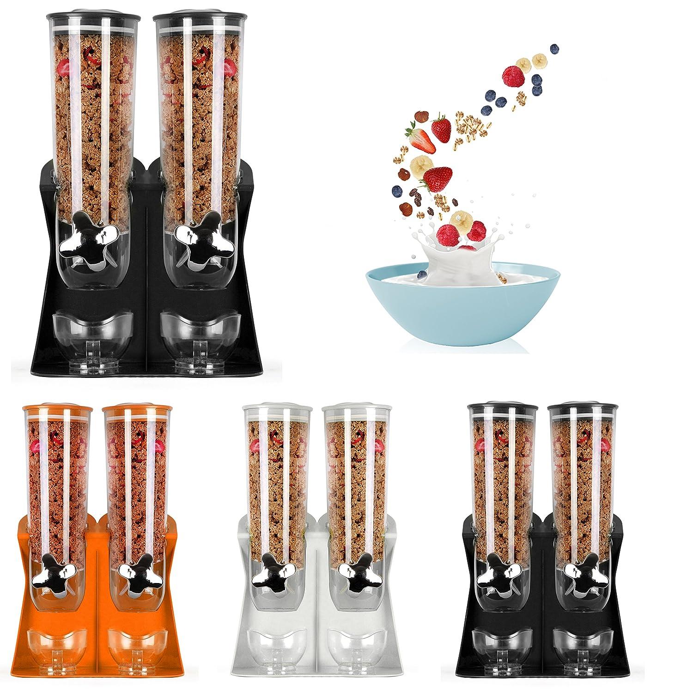 Enyaa New Style 2018doppio dispenser di cereali e alimenti secchi con integrato Spill vassoio per la casa, cucina, Counter tops, colazione, Pets, cibo per gatti, cibo per cani, caramelle, dispensa, e pasti Orange Double