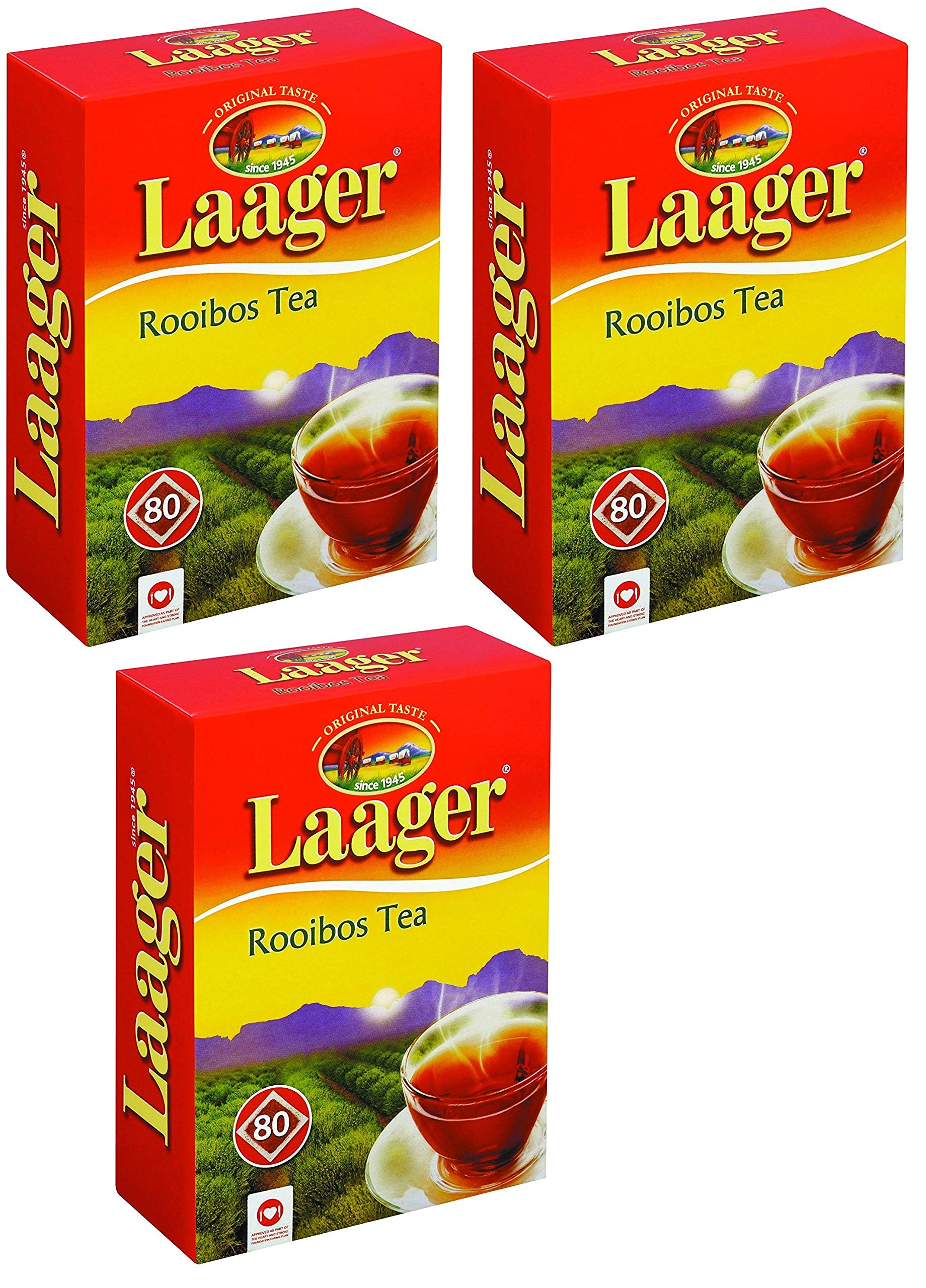 Laager South African Rooibos Tea - 80 count, 7 oz, 100% Natural Tea, Caffeine Free, Healthy and Pure, Red Bush Herbal Tea. Rich in Vitamins and Antioxidant (240 Count (Pack of 3))