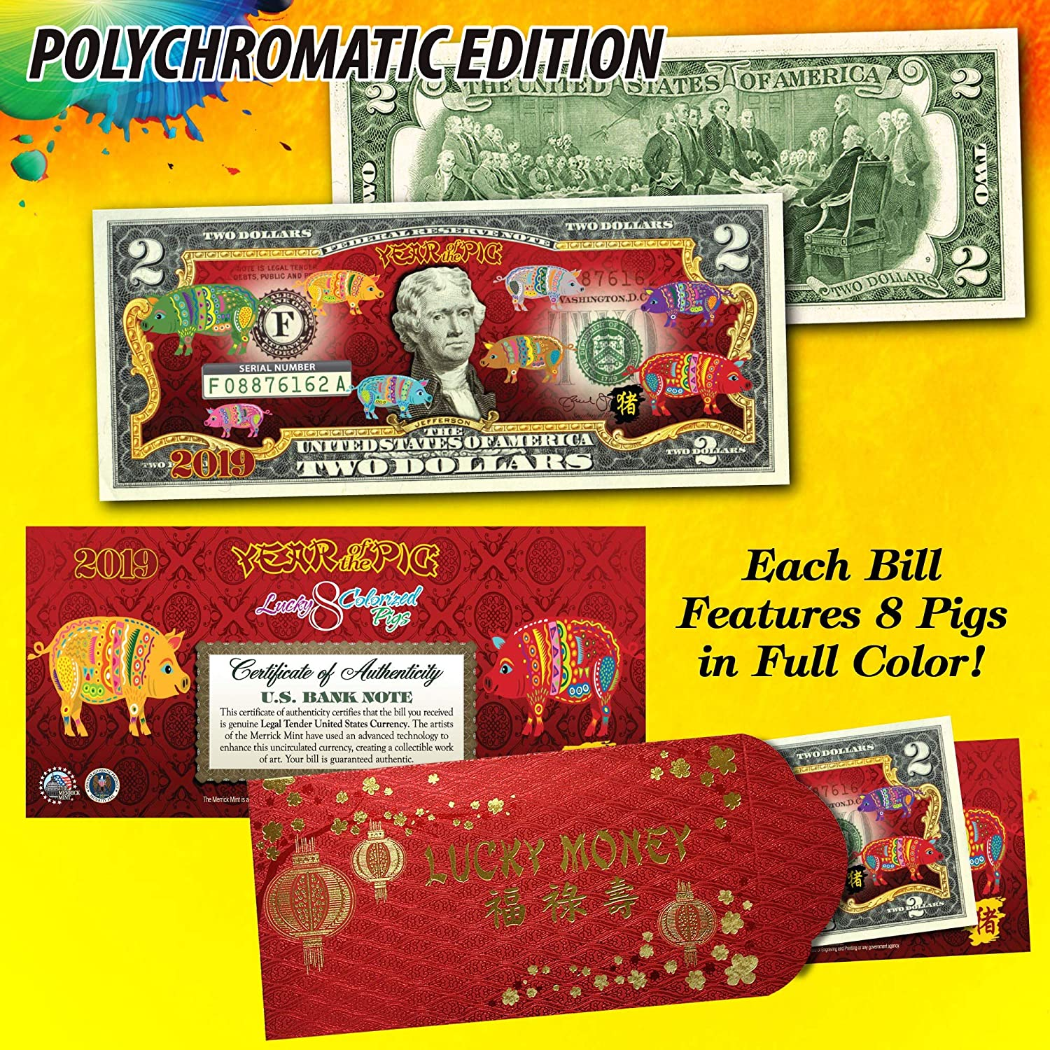 2020 Lunar New YEAR OF THE RAT 24K Gold Plated JFK Half Dollar US Coin with BOX