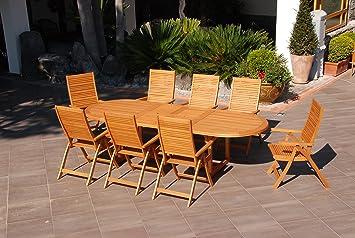Salmar Texas Table de jardin extensible, en bois, de forme ovale ...