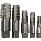 """Drill America - POUCSNPT5 5 Piece NPT Pipe Tap Set (1/8"""", 1/4"""", 3/8"""", 1/2"""" and 3/4""""), Plastic Pouch Case, POU Series"""