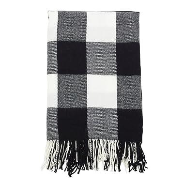 SARO LIFESTYLE Buffalo Plaid Check Tassel Throw Blanket, 50  x 60 , Black