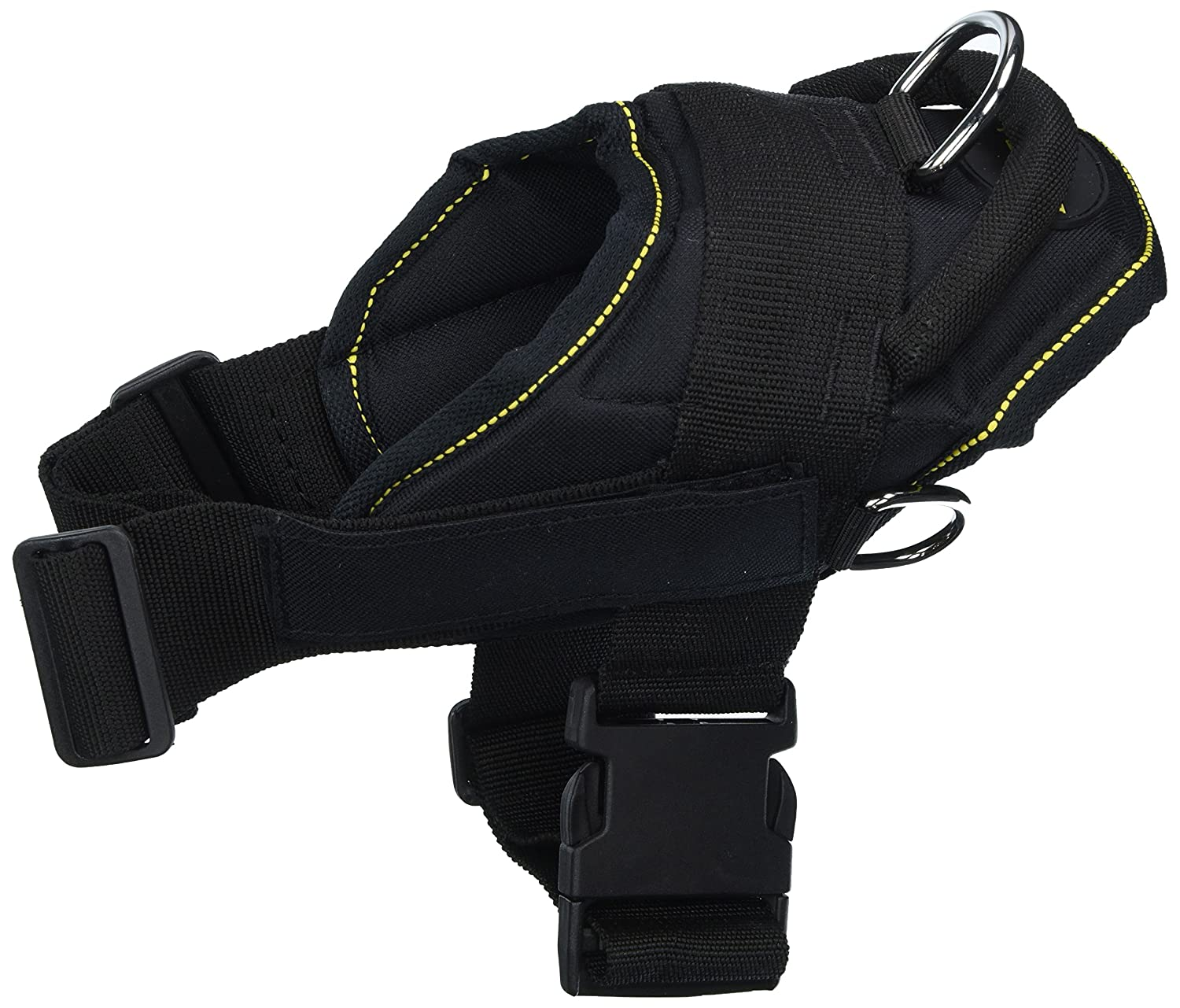 Dean & Tyler Fun Works Harness, Assistance Dog, Black with Yellow Trim, Small, Fits Girth Size  22-Inch to 27-Inch