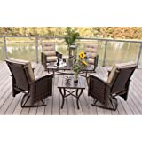 7pc Swivel Rocking Aluminum Wicker Patio Chairs Conversation Set and Lanterns - Bronze
