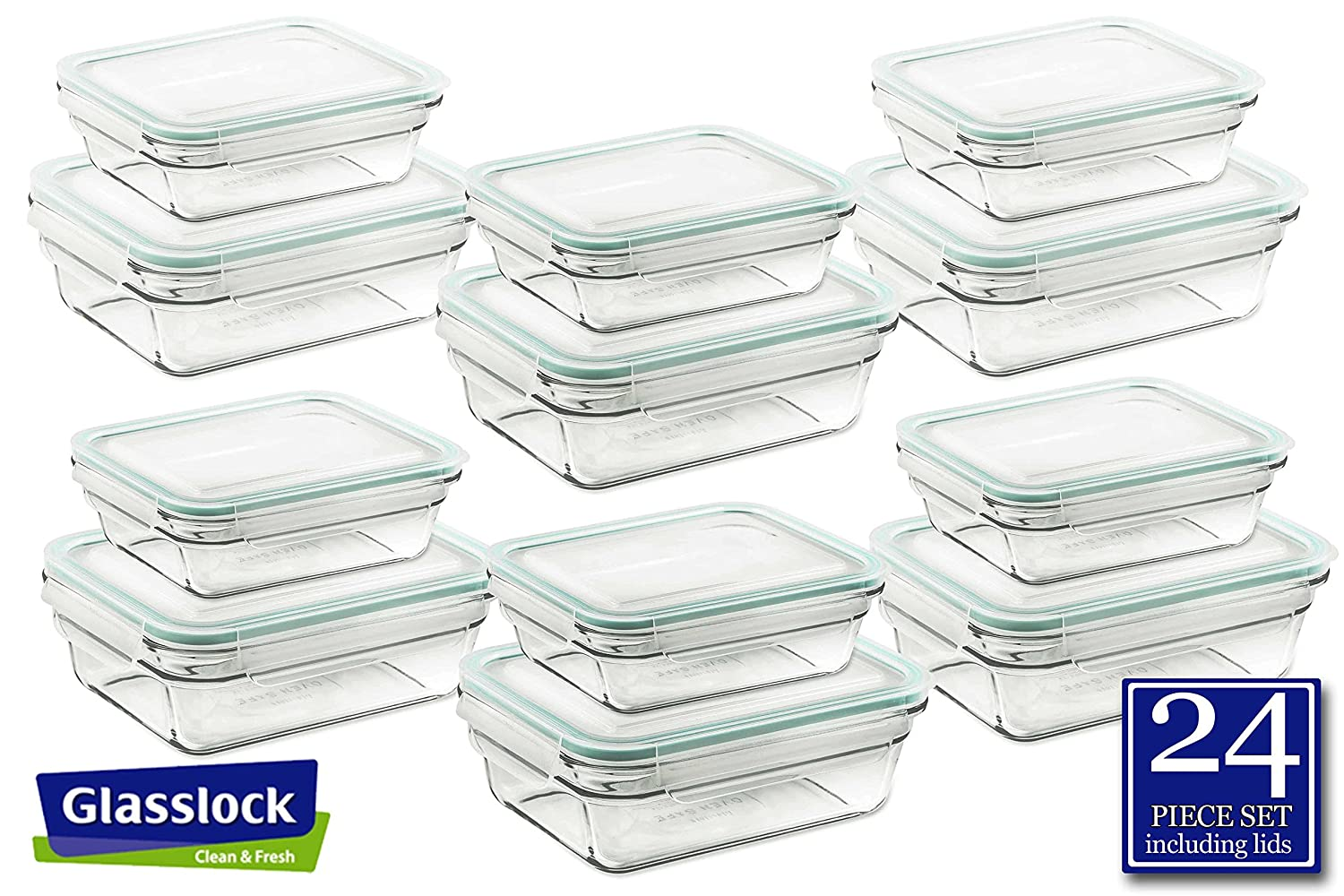 Airtight Anti-Spill Proof Tempered Glasslock Storage Rectangular Containers 24pc set~Microwave & Oven Safe