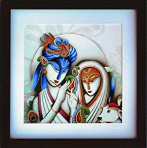 HandicraftStore Lord Radha Krishna his Cow Playing Enjoying Flute,A Modern Art Painting Home/Office Décor, A Paper Poster Frame