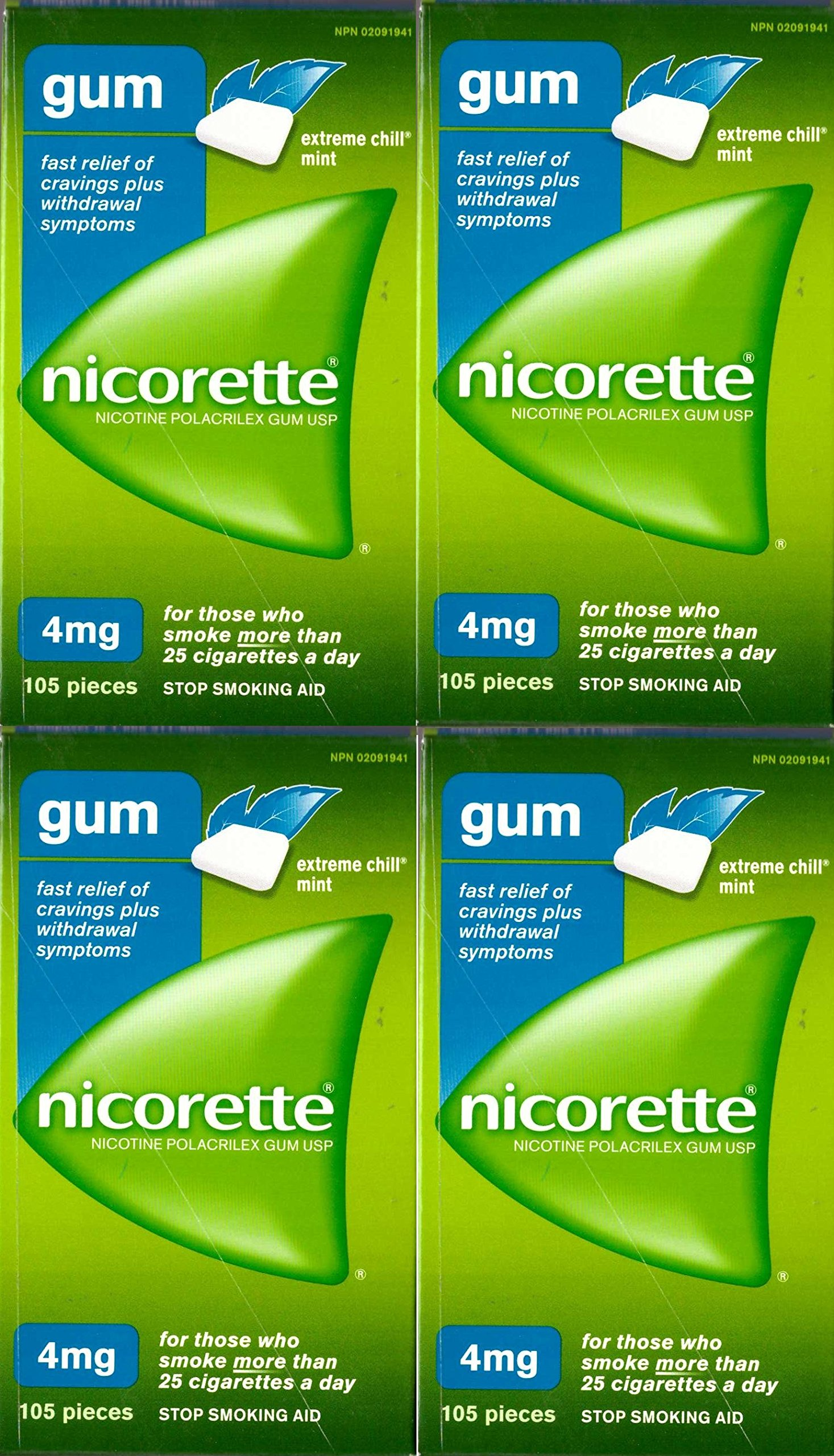 Nicorette Nicotine Gum: Extreme Chill Mint 4 MG (4 packs of 105, 420 Pieces)