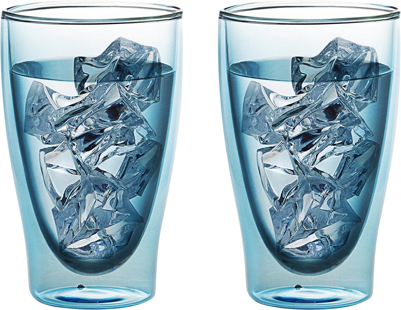 LEVIVO Juego 2002000153Cristal térmico de Doble Pared, Juego 2Vasos à 400ml Largo, Libro sommerdrinks, Cristal, Azul, 22.5x 15.5x 10.5cm, 2Unidades
