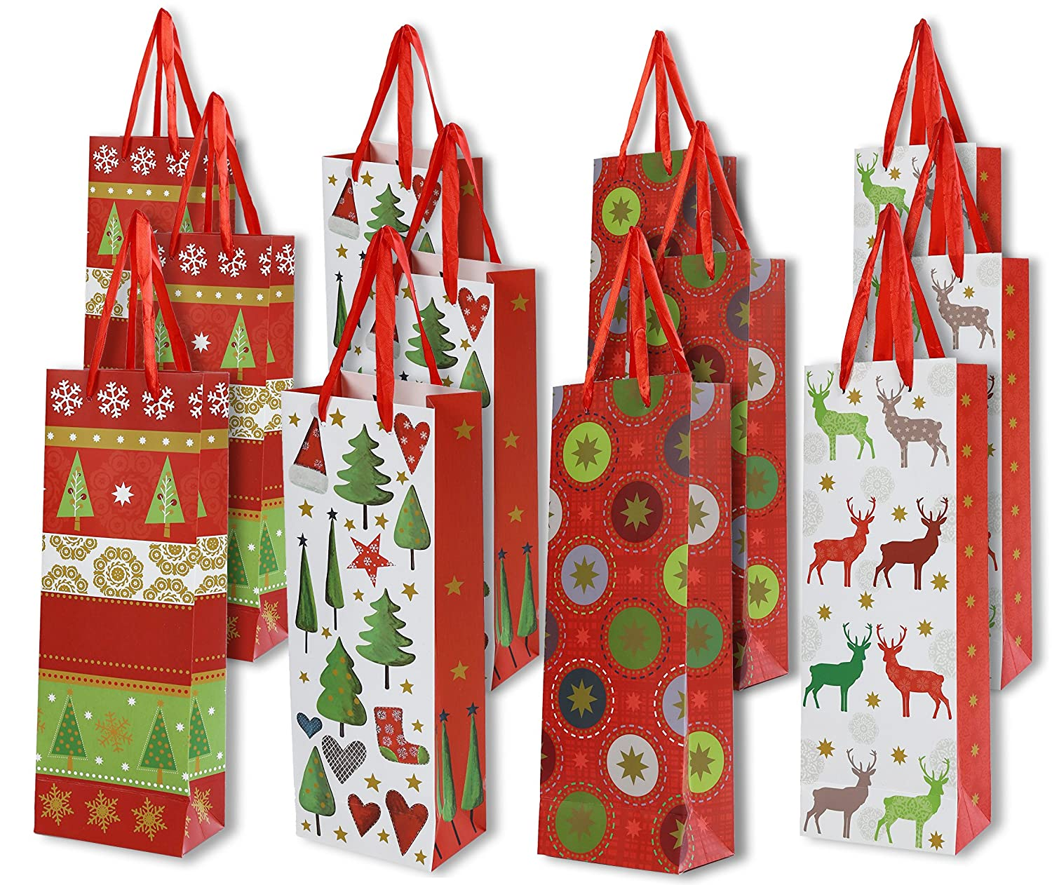 Christmas Liquor.Christmas Wine Gift Bags 12 Pack Single Bottle Storage Bag For Alcohol Liquor Spirits Sparkling 4 Holiday Paper Designs 5 X 3 5 X 14 Inches