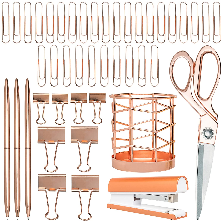 Rose Gold Desk Accessories | 7 Desktop Essentials (44 Items Total) | Office Supply Set & Organizer in Rose Gold Décor
