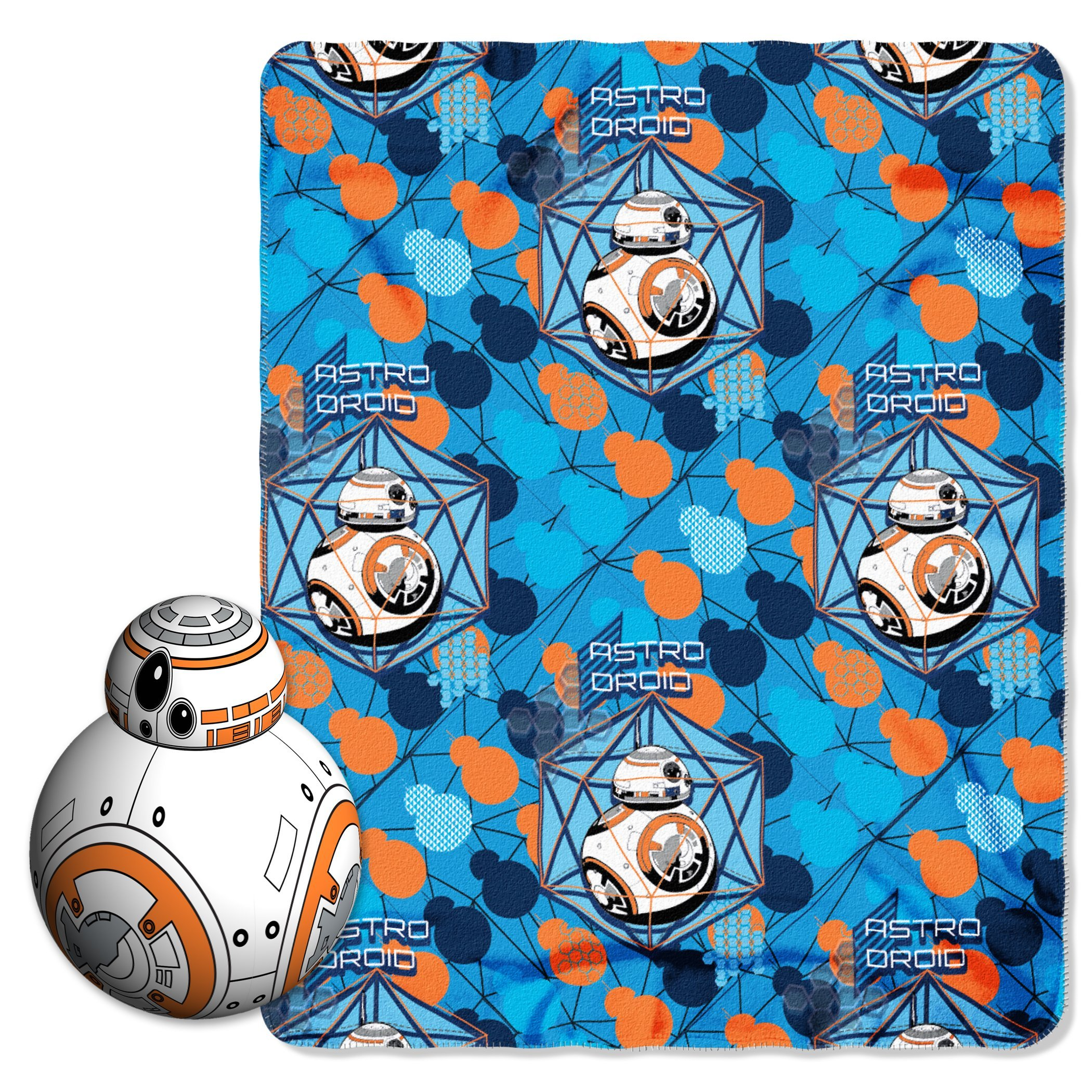 Disney's Star Wars Episode 7: The Force Awakens, ''BB-8'' Character Pillow and Fleece Throw Blanket Set, 40'' x 50'', Multi Color